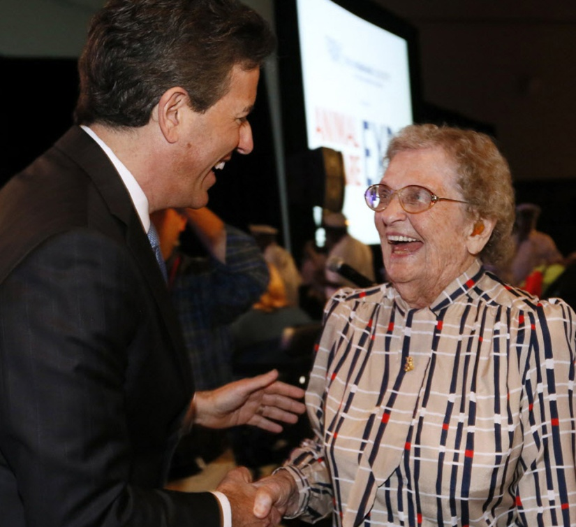 97-year-old Holly Reynolds, who attended the first HSUS annual meeting in 1955, is seen during the Welcome Session at the 2015 Animal Care Expo, Monday, March 30, 2015, in New Orleans. The 24th annual Animal Care Expo includes over 2300 attendees from 47 different countries. (Jonathan Bachman/AP Images for The Humane Society of the United States)